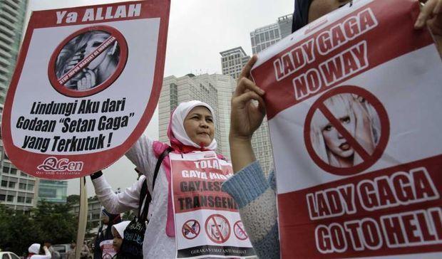 Manifestation contre Lady GaGa à Jakarta-