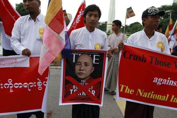 """Le 30 juin dernier, lors d'une manifestation contre la Une de """"Time""""."""