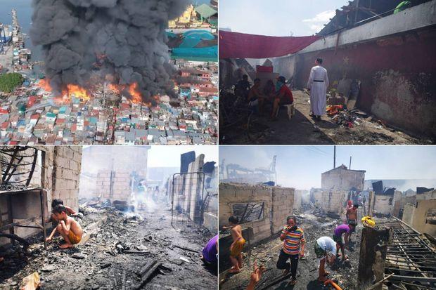 Images de l'incendie d'un des bidonvilles de Manille, le 25 avril 2020.