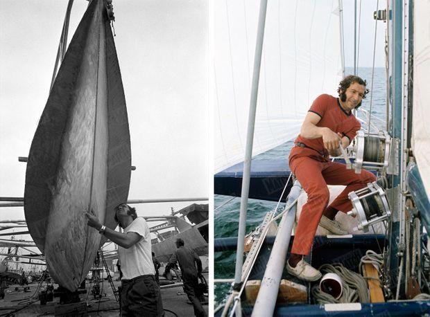 Alain Colas et Manureva : sur le chantier naval en juin 1973, à bord en mai 1975.