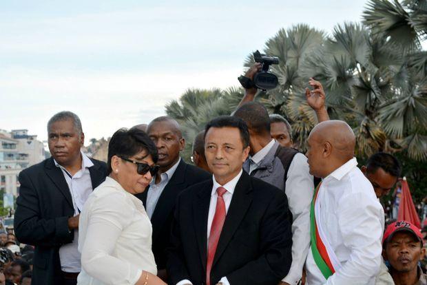 L'ancien président Marc Ravolamanana destitué en 2009,pendant la manifestation du 23 avril à Tananarive