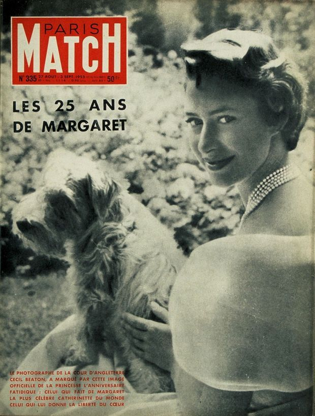 """""""Margaret's 25 years: the photographer of the Court of England, Cecil Beaton, marked with this official image of the princess the fateful birthday: the one who made Margaret the most famous catherinette in the world, the one who gave her the freedom of the heart.  """"- Paris Match n ° 335, August 27, 1953"""