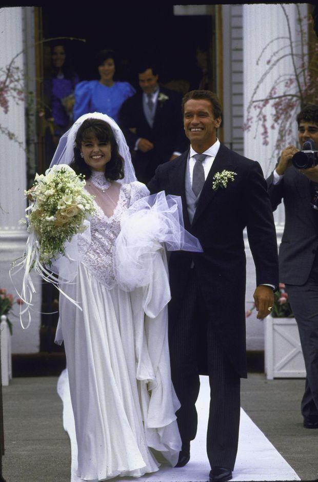 Le mariage d'Arnold Schwarzenegger et Maria Shriver à la St. Francis Xaviers Church de Hyannis Port, le fief des Kennedy dans le Massachusetts, le 26 avril 1986.