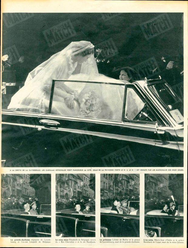 """""""À la sortie de la cathédrale, les Cadillac officielles vont parcourir la cité. Celle de la princesse porte le n°2, le n°1 est occupé par les maréchaux des deux cours. La grande-duchesse régnante de Luxembourg et l'ex-roi Léopold de Belgique. La reine mère Elisabeth de Belgique, veuve du 'Roi Chevalier' et le roi Baudouin. La princesse Liliane de Rethy et le prince de Luxembourg, mari de la grande-duchesse. L'ex-reine Marie-José et le prince Bernhard de Lippe, mari de la reine Juliana."""" - Paris Match n°214, 18 avril 1953."""