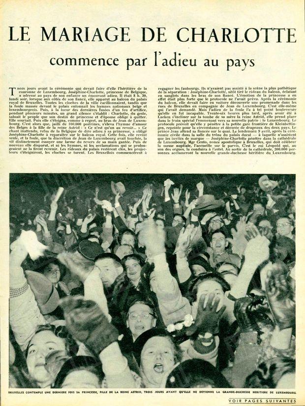 """""""Bruxelles contemple une dernière fois sa princesse, fille de la reine Astrid, trois jours avant qu'elle ne devienne la grande-duchesse héritière de Luxembourg"""" - Paris Match n°213, 11 avril 1953"""