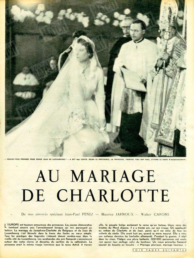 """""""'Voulez-vous prendre pour époux Jean de Luxembourg ?' a dit Mgr Cento. Selon le protocole , la princesse, tournée vers son père, attend le signe d'acquiescement."""" - Paris Match n°214, 18 avril 1953."""