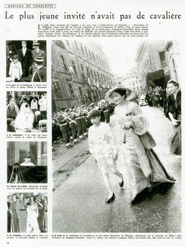 """""""Alexandre de Belgique, onze ans. A la gare de Luxembourg, il arrive avec ses frères le prince Albert et Baudouin. A la cathédrale : il est resté une heure debout, tenant la traine de Charlotte. Au balcon du palais, Alexandre accueille avec un sourire les ovations de la foule. A la réception, le petit prince entre ses parents, la princesse Liliane et Léopold. A la sortie de la cathédrale de Luxembourg, le petit prince Alexandre de Belgique, chaperonné par la princesse de Méhut, dame d'honneur de Joséphine-Charlotte, rejoint sa voiture qui l'attend à quelques mètres. Les mariés sont déjà partis en tête du cortège"""" - Paris Match n°214, 18 avril 1953."""