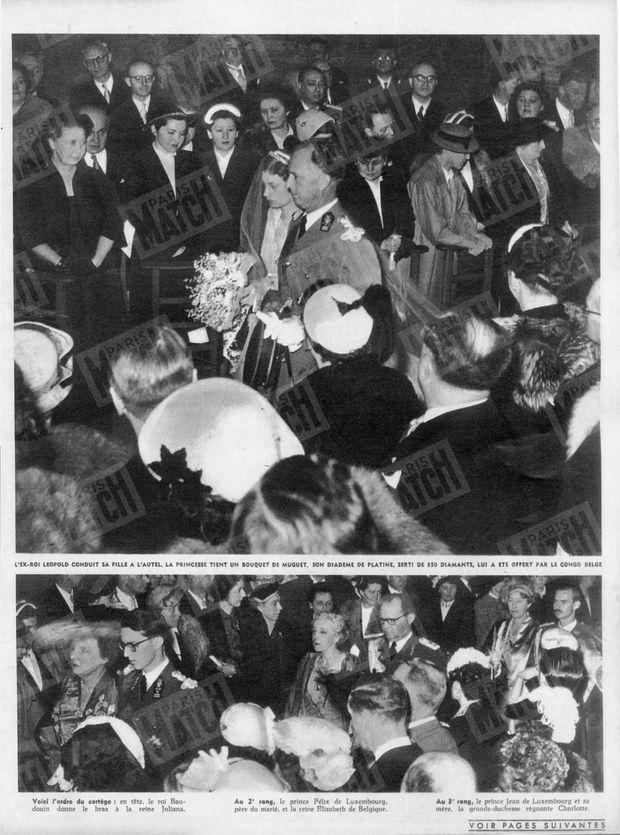 """""""L'ex-roi Leopold conduit sa fille à l'autel. La princesse tient un bouquet de muguet, son diadème de platine, serti de 850 diamants, lui a été offert par le Congo belge. Voici l'ordre du cortège : en tête, le roi Baudouin donne le bras à la reine Juliana. Au 2e rang, le prince Félix de Luxembourg, père du marié, et la reine Elisabeth de Belgique. Au 3 rang, le prince Jean de Luxembourg et sa mère, la grande-duchesse régnante Charlotte."""" - Paris Match n°214, 18 avril 1953."""