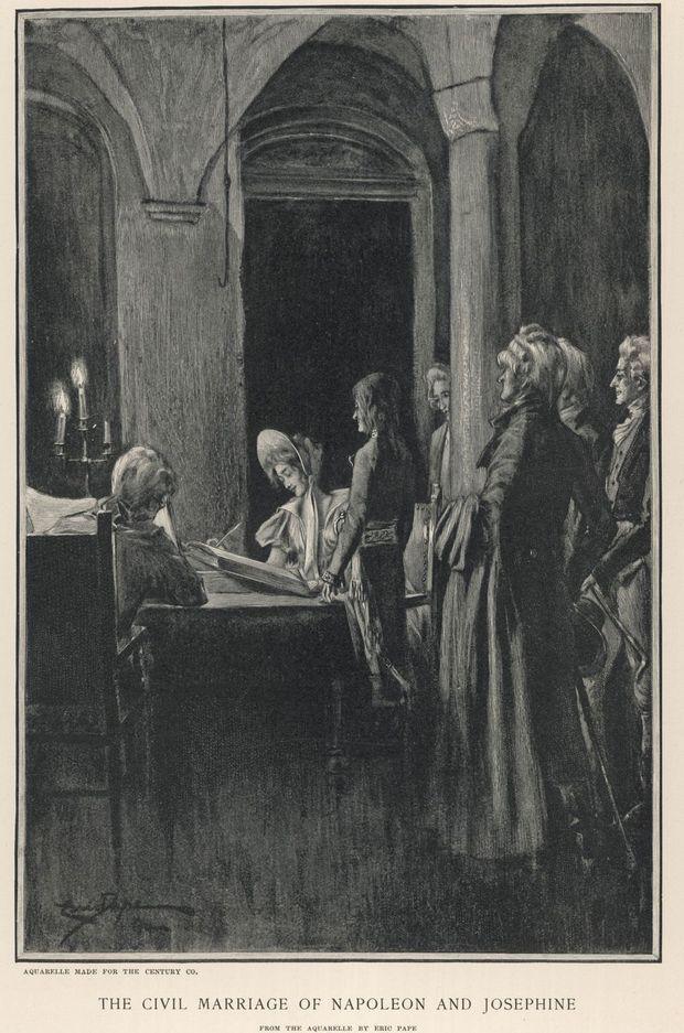 Gravure figurant le mariage de Napoléon et Joséphine, le 9 mars 1796