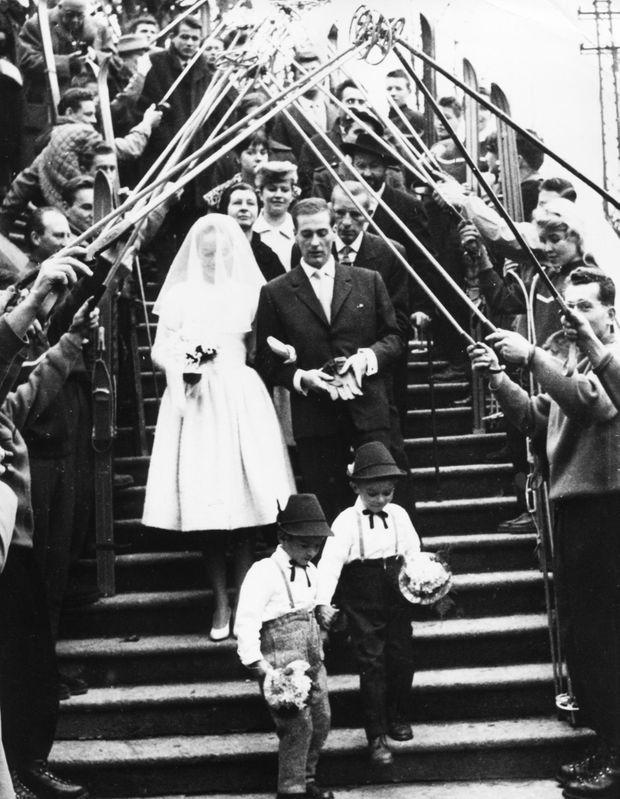 Le mariage de Jean Vuarnet et d'Edith Bonlieu à Saint-Gervais, le 15 novembre 1958.
