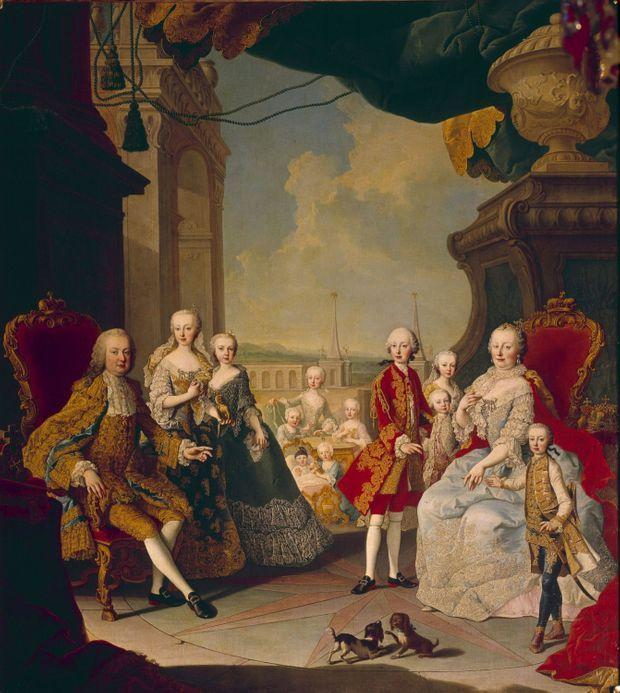Portrait de l'impératrice Marie-Thérèse d'Autriche en famille (atelier de Martin II Van Meytens - musee du château de Versailles)