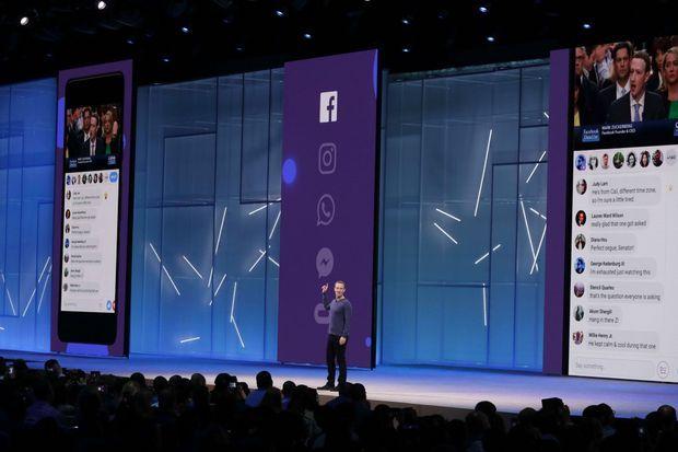 """Le 1er mai, Mark Zuckerberg fait la démonstration de la nouvelle fonctionnalité """"watch party"""" en prenant exemple sur son audition devant le Congrès."""