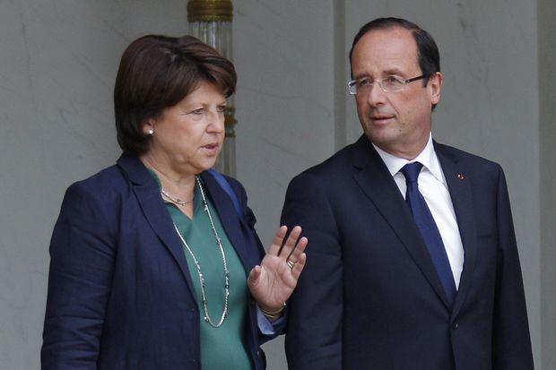 Martine Aubry quittant l'Elysée après une rencontre avec François Hollande, le 6 juin 2012.