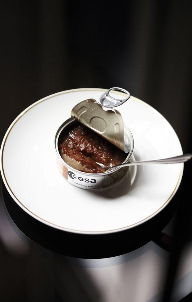 Pressé de pain d'épices conditionné pour l'espace par la conserverie bretonne Hénaff.
