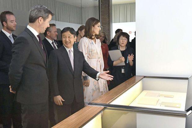 La princesse Mary et le prince Frederik de Danemark avec le prince héritier Naruhito du Japon à Tokyo, le 10 octobre 2017
