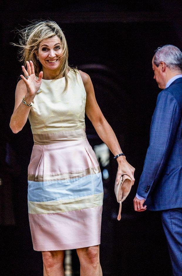 La reine Maxima des Pays-Bas arrive au Palais royal à Amsterdam, le 15 juin 2017