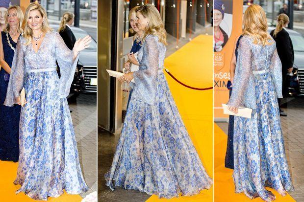 La reine Maxima des Pays-Bas dans sa robe Luisa Beccaria à Amsterdam, le 5 septembre 2017