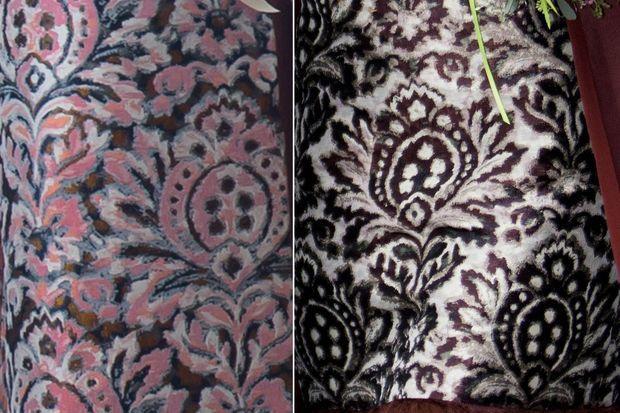 Comparatif du motif du manteau et de la robe Natan de la reine Maxima des Pays-Bas