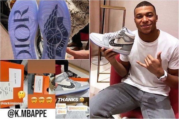 Le 24 janvier, Kylian Mbappé postait une story sur son compte Instagram avec à la main la basket Dior Air Jordan 1 High OG, qui sortira en avril.