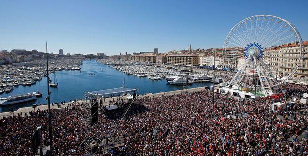 Le grand meeting de Jean-Luc Mélenchon à Marseille, le 9 avril.