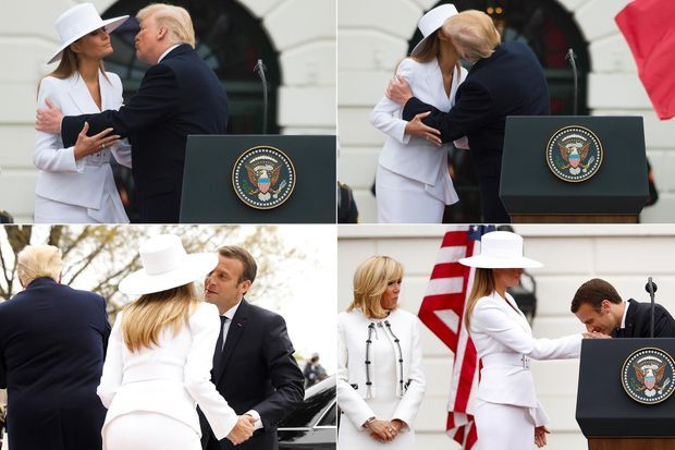 Melania et Donald Trump, avec Emmanuel Macron, à la Maison-Blanche, le 24 avril 2018.