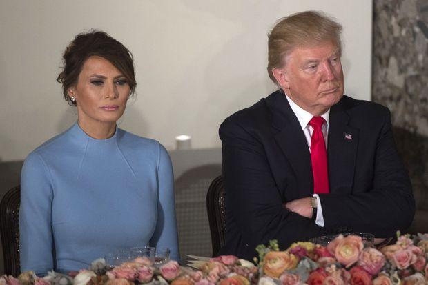 Melania et Donald Trump lors du déjeuner après l'investiture de Donald Trump, le 20 janvier 2017.