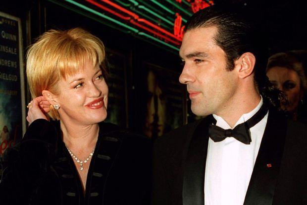 "Melanie Griffith et Antonio Banderas à la première de ""Haunted"", en octobre 1995."
