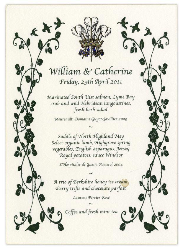 Le menu du dîner de mariage du prince William et de Kate Middleton