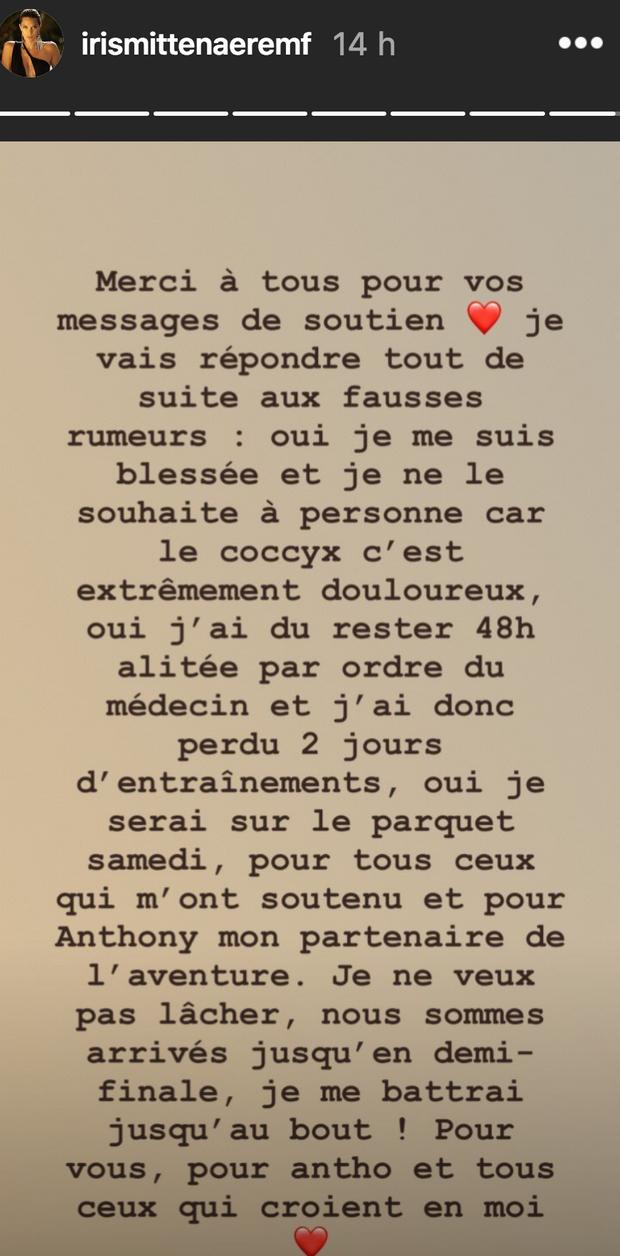 Message d'Iris Mittenaere