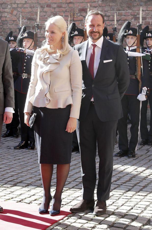 La princesse Mette-Marit et le prince Haakon de Norvège à Oslo, le 22 mars 2017