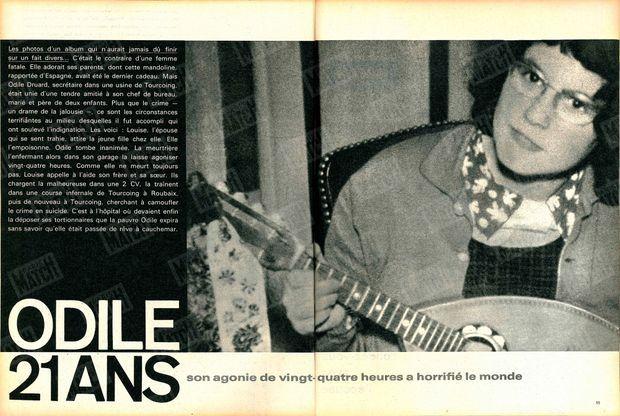 « Odile, 21 ans. Son agonie de 24 heures a horrifié le monde. » - Paris Match n°625, 1er avril 1961