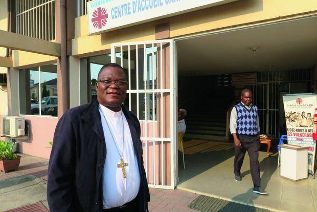 Mgr José Moko, évêque d'Idiofa et président de la commission épiscopale des communications sociales, en juin 2018 à Kinshasa