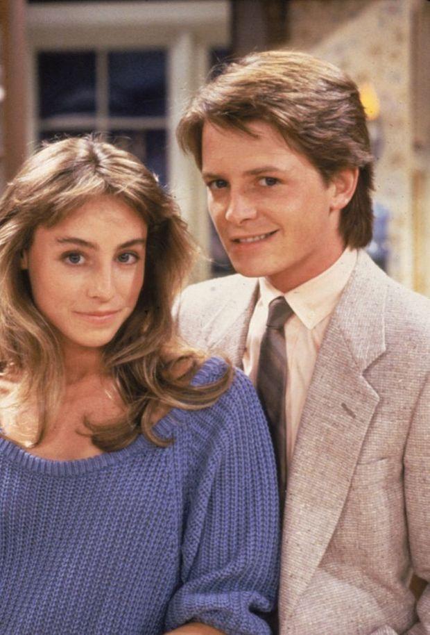 Michael J. Fox et Tracy Pollan sur le plateau de « Family Ties » en 1986.