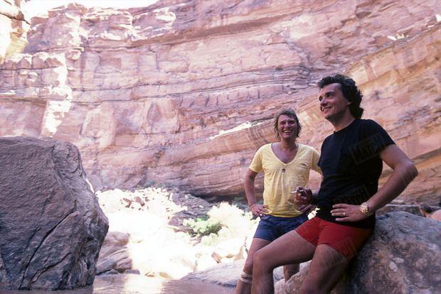Michel Sardou et Johnny Hallyday dans le Colorado en juin 1978.