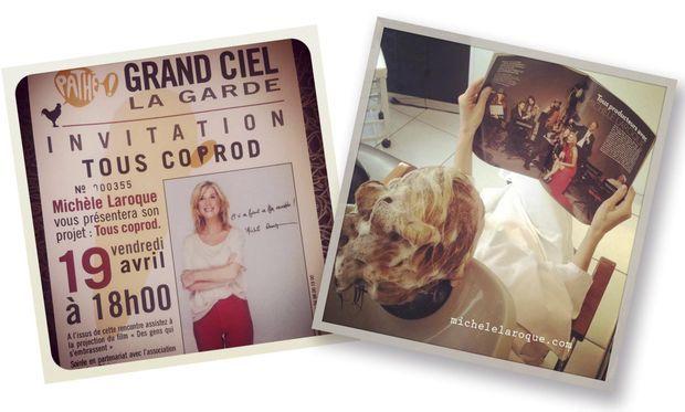 """A gauche, l'invitation à la soirée de présentation """"Tous Coprod"""" au cinéma Grand Ciel La Garde. A droite, même chez le coiffeur, Michèle Laroque a de saines lectures."""