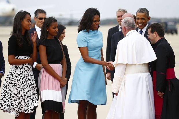 Michelle Obama et ses filles rencontrent le pape