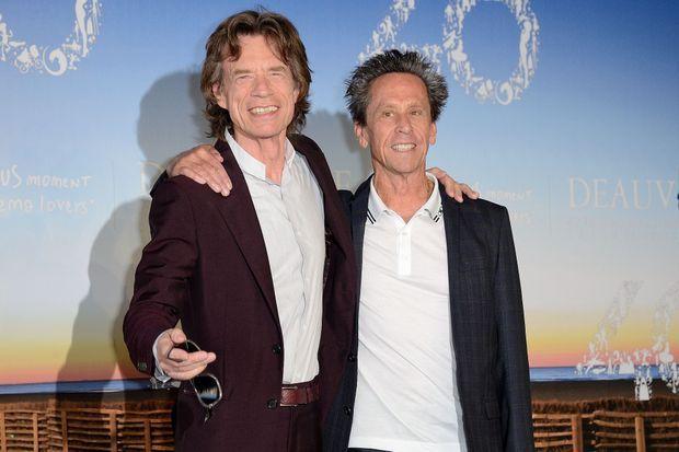 """Mick Jagger et Brian Grazer lors du photocall de """"Get on up""""."""