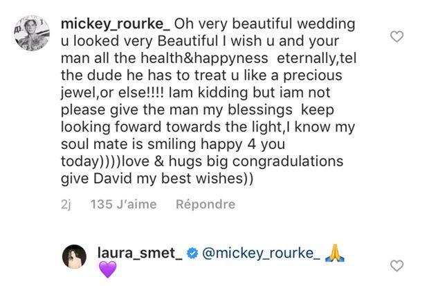 Mickey Rourke félicite Laura Smet sur Instagram après son mariage célébré le 15 juin 2019