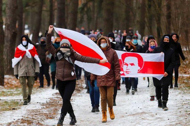 Manifestation à Minsk, au Bélarus, le 13 décembre 2020.