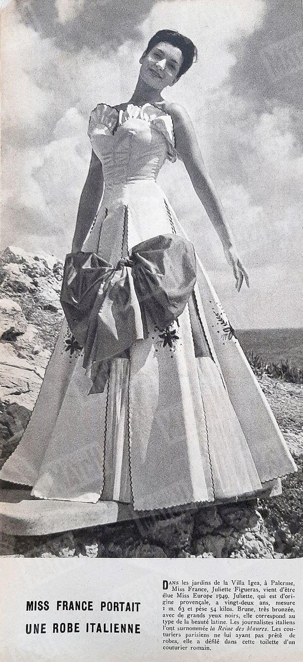 « Miss France portait une robe à italienne » : Juliette Figueras tout juste élue Miss Europe dans Paris Match n°28, daté du 1er octobre 1949.