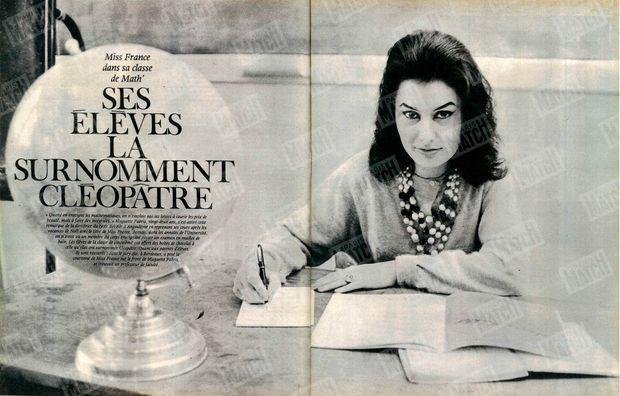 """""""Miss France dans sa classe de math'"""" - Paris Match n°718, daté du 12 janvier 1963."""
