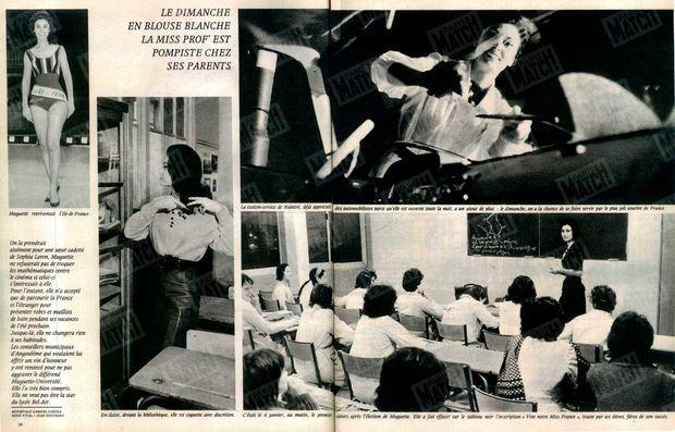 """""""Le dimanche en blouse blanche, la miss prof' est pompiste chez ses parents"""" - Paris Match n°718, daté du 12 janvier 1963."""