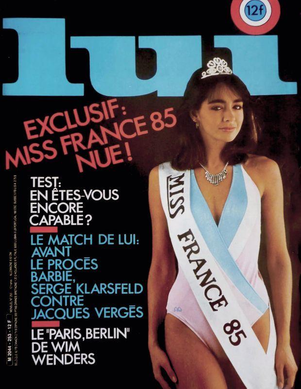 « Isabelle Chandieu, Miss France 85, a posé nue pour le magazine 'Lui'. 'Je me baigne toujours en petit bikini... ou toute nue, dit-elle. L'idée de mettre un maillot une pièce ne m'est jamais venue' » - Paris Match n°1863, 8 février 1985