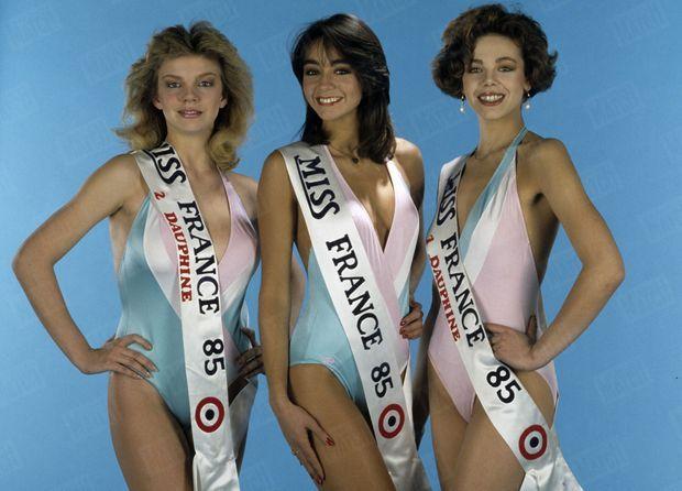 « Isabelle Chandieu, Miss France 85, entourée de ses deux dauphines: (à g.) Carole Trédille, 18 ans (Savoie) et (à d.) Valérie Fitoussi, 19 ans (Haut-Rhin). » - Paris Match n°1863, 8 février 1985