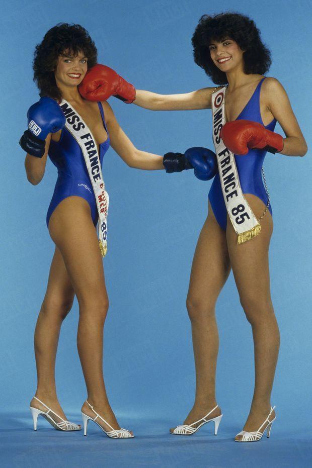 « Suzanne Iskandar, Miss France 1985, avec Nathalie Jones, 17 ans, 1,72 m, Miss Calédonie qui a été choisie pour 'Miss France Outre-Mer' » - Paris Match n°1866, 1 mars 1985