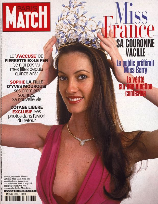 Mareva Galanter, Miss France 1999, en couverture de Paris Match n°2587, daté du 24 décembre 1998.