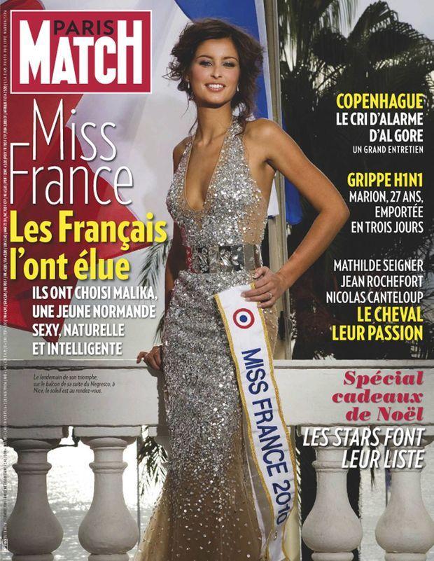 Malika Ménard, Miss France 2010, en couverture de Paris Match n°3160, daté du 10 décembre 2009.