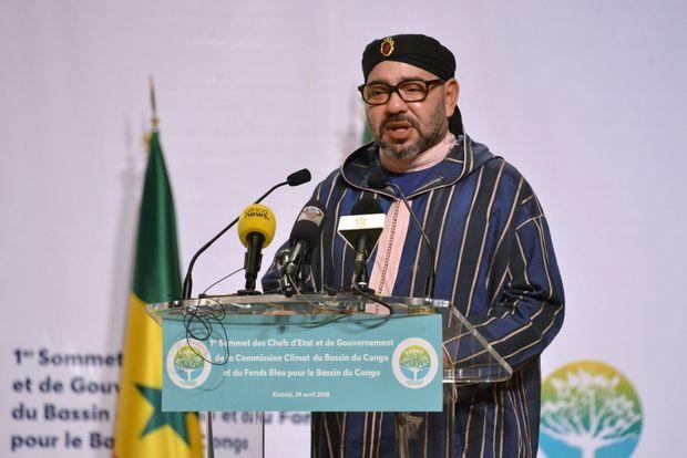 Le Roi du Maroc, Mohammed VI à Brazzaville, au sommet des chefs d'Etat pour le Fonds bleu le 29 avril 2018.