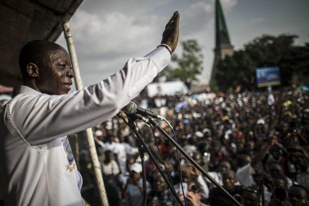 Le 18 mars 2016, deux jours avant le scrutin présidentiel, Jean-Marie Michel Mokoko à Brazzaville