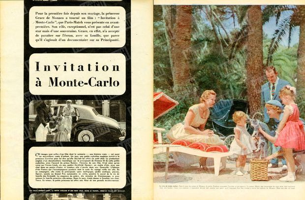 """""""Le rêve de Lindy réalisé. Dans le parc du palais de Monaco, la petite Anglaise rencontre Caroline et ses parents. Le prince Albert, âgé maintenant de onze mois, dort sagement dans son landau. Grace n'a consenti à reparaître devant une caméra que parce qu'il s'agissait d'un film destiné à servir les intérêts de Monaco. Mais son rôle est muet."""" - Paris Match n°513, 7 février 1959."""